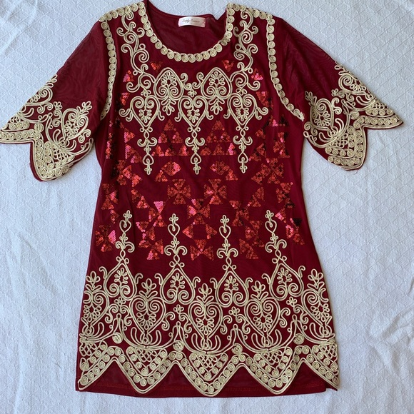 bbbd705bfd Simply Couture Red Tunic With Embroidery & Sequins